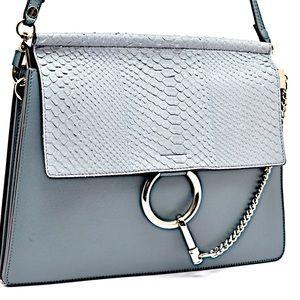 CHLOE Slate Leather Blue Gray Python Flap FAYE